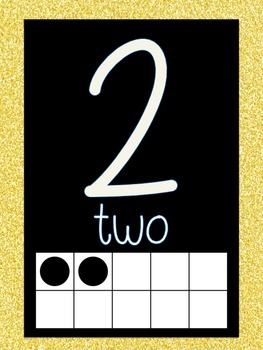 Word Wall and Number Line labels (Yellow GLITTER)