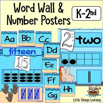 Word Wall and Number Posters Ocean Theme