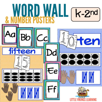Word Wall and Number Posters Wavy Theme