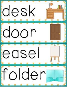 Word Wall and Pocket Chart Cards for Classroom Words ESL/ELL