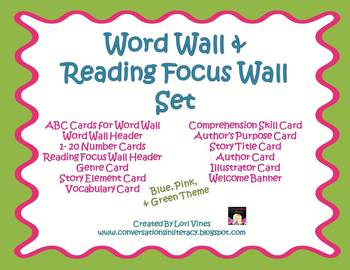 Word Wall and Reading Focus Wall Classroom Set in Pink, Blue and Green