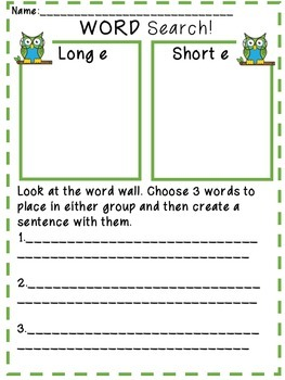 Word Wall and Spelling Word Activities