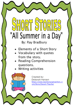 """""""All Summer in a Day"""" by Ray Bradbury"""