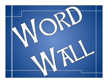 Word Wall bulletin board blue