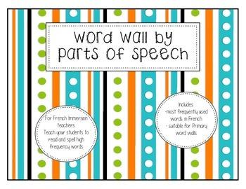 Word Wall by Parts of Speech (French) - Mur de mot