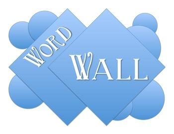 Word Wall circles and squares blue