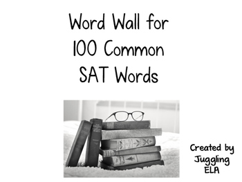 Word Wall for 100 Common SAT Words