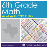 Word Wall for 6th Grade Math - Texas - TEKS