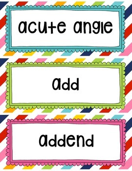 Word Wall for Interactive Math Vocabulary for 4th Grade