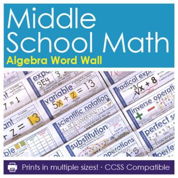 Word Wall for Middle School Algebra