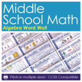 Word Wall for Middle School Algebra