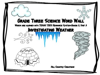Word Wall for TEXAS TEKS RESOURCES-Grade 3, Unit 3, Weather