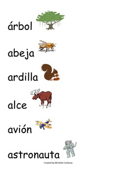 Spanish Word Wall- Letter A