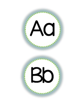 Word Wall letters- Blue and Green bubbles