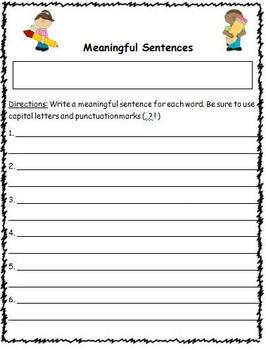 Word Wall or Vocabulary Words Weekly Homework Template