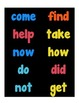 Word Wall Cards {sight words on black}