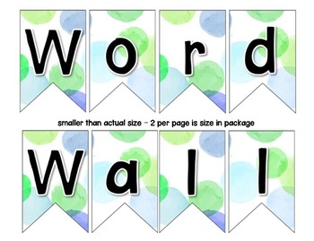 Word Wall with Dolch Sight Words and Picture Cards (Blue & Green Watercolor)