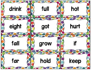 Word Wall with Dolch Sight Words and Picture Cards (Bright Watercolor Dots)