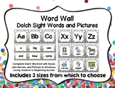 Word Wall with Dolch Sight Words and Picture Cards (Confetti)