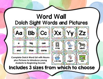 Word Wall with Dolch Sight Words and Picture Cards (Pastel Watercolor Dots)
