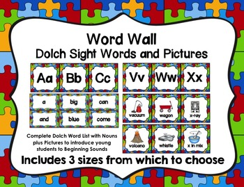 Word Wall with Dolch Sight Words and Picture Cards (Puzzle Theme)