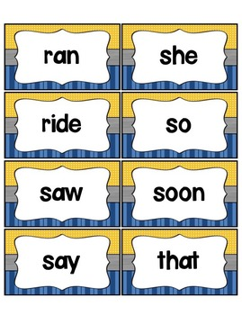 Word Wall with Dolch Sight Words and Picture Cards (blue & mustard)