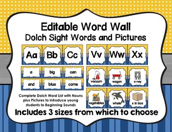 Word Wall with Dolch Sight Words and Picture Cards (blue &
