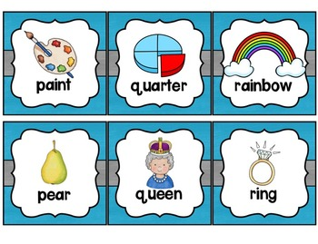 Word Wall with Dolch Sight Words and Picture Cards (blue and gray)