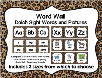 Word Wall with Dolch Sight Words and Picture Cards (leopard print)