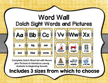 Word Wall with Dolch Sight Words and Picture Cards (yellow
