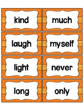Word Wall with Dolch Sight Words and Picture Cards (orange)