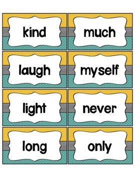 Word Wall with Dolch Sight Words and Picture Cards (teal & mustard)