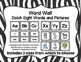 Word Wall with Dolch Sight Words and Picture Cards (zebra print)