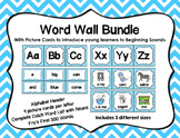 Word Wall with Picture Cards, Dolch Words, and Fry Words (Blue Chevron)