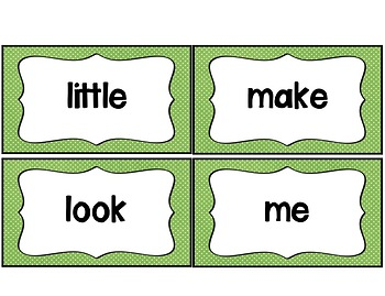 Word Wall with Picture Cards, Dolch Words, and Fry Words (Lime & White Dot)