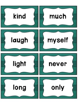 Word Wall with Picture Cards, Dolch Words, and Fry Words (Teal Chevron)