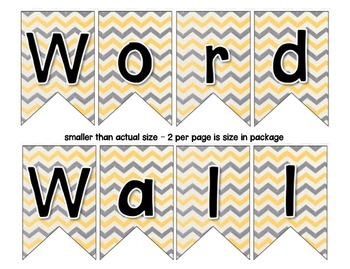Word Wall with Picture Cards, Dolch Words, and Fry Words (Chevron Yellow & Gray)