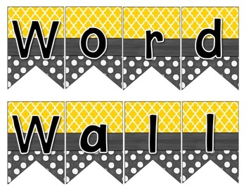 Word Wall with Picture Cards, Dolch Words, and Fry Words (gold & charcoal gray)