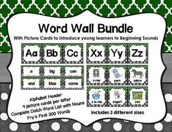 Word Wall with Picture Cards, Dolch Words, and Fry Words (green & charcoal gray)