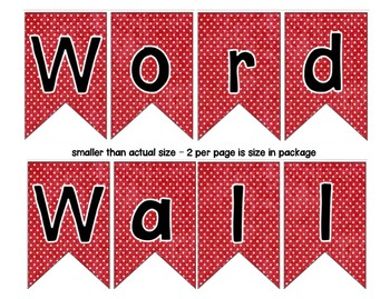 Word Wall with Picture Cards, Dolch Words, and Fry Words (red with white dots)