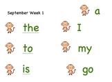 Word Wall words - monkey theme