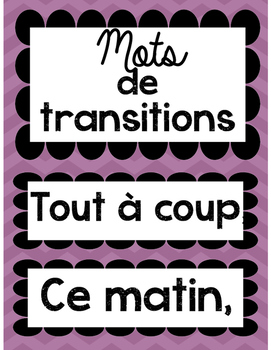 Word Wall words- transition words - in both French and English