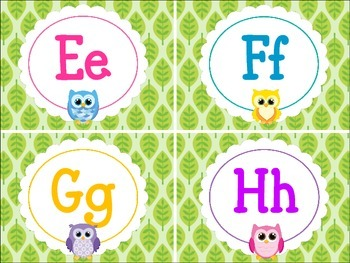 Word WallBright Owl Alphabet Letters-Primary