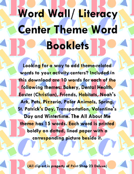 Word Wall/Literacy Center Theme Word Booklets
