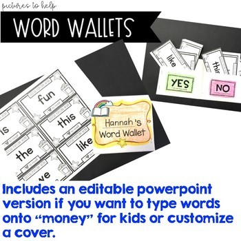 Word Wallets . Spelling or Sight Word Work for ANY Words . Use All Year .