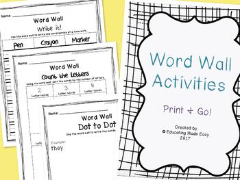 Word Wall Center Activity Sheets!