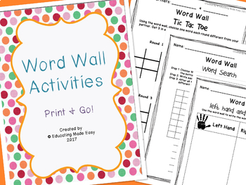 Word Wall Center Activity Sheets II!