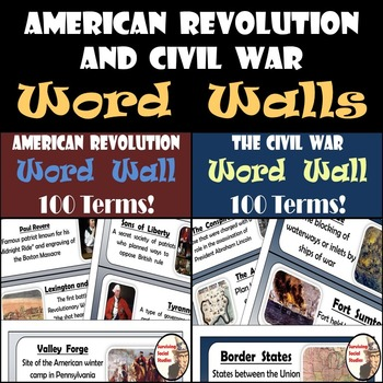 Word Walls - American Revolution & Civil War - 200 Terms/Definitions/Images