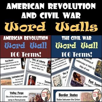 Word Walls - American Revolution & Civil War - 200 Terms/D