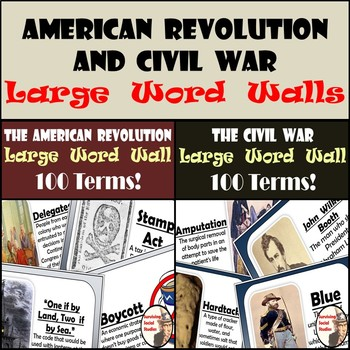 Word Walls (Large) - American Revolution & Civil War - 200 Terms - One Per Page